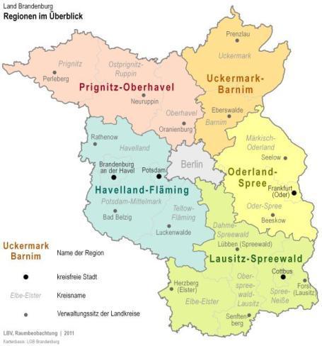 Regionen im Land Brandenburg